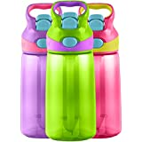 Contigo AUTOSPOUT Kids Striker Water Bottle, 14-Ounce, Cherry Blossom/Chartreuse/Amethyst