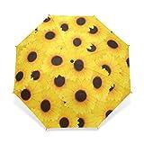 Rain Umbrella Windproof?Sunflower Decor Yellow Black Spots Foldable Compact Travel Umbrella