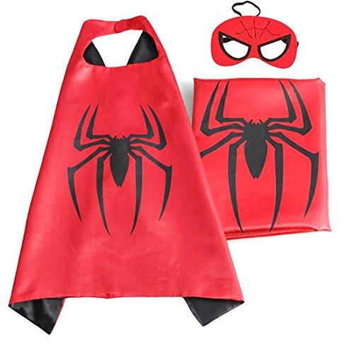 Superhero or Princess CAPE & MASK Set Kids Childrens Halloween Costume (Black & Red Spiderman)