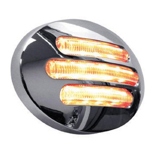 Trux Accessories Tled-Fg2Ca Marker Light Chrome Flatline 13 Diode Led Light - Clear Amber