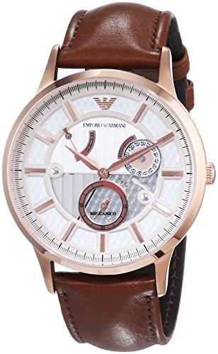 Emporio Armani  - Reloj Analógico de Automático para Hombre, correa de Cuero color Marrón