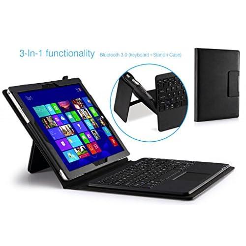 MoKo Microsoft Surface Pro 3 12 インチ ケース - MoKo Microsoft Surface Pro 3 12インチタブレット専用Bluetoothキーボード型フォリオケース。 BLACK