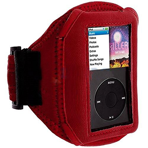 Mylife (Tm) Red Velcro Strap (Light Weight Neoprene + Secure Running Armband) For Apple Ipod Classic 1St, 2Nd, 3Rd, 4Th, 5Th, 6Th And 7Th Generation (30Gb/60Gb/80Gb/120Gb/160Gb) (Universal One Size Fits All + Velcro Secured + Adjustable Length + All Ports