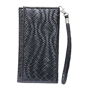 Jo Jo A5 Bali Leather Wallet Universal Pouch Cover Case For Samsung Galaxy Mega On Black