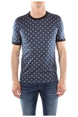 T-Shirt Dolce&Gabbana Uomo Cotone Blu, Marrone e Grigio G8FE6TG7CNUX0807 Blu 48EU