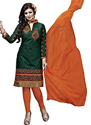 M Fab Ethnic Embroidered Orange and Racing Green Pc Cotton Free Size Straight Chudidar Salvar Suit Dress Material