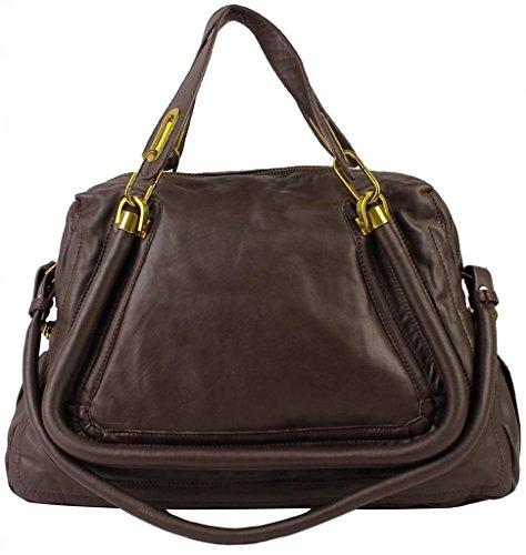Lush Leather Large Trapazoid Satchel Dark Brown Bag