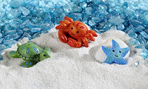 GiftCraft Set of 3 Miniature/Fairy Garden Sea Creatures - Starfish, Turtle, Crab