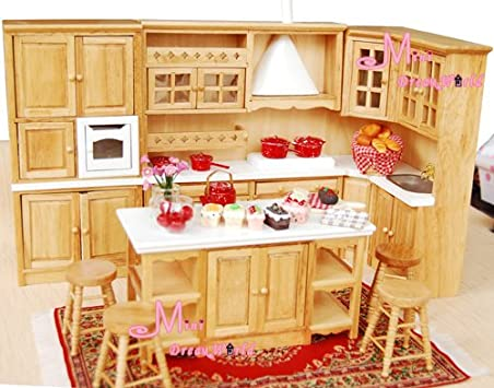 Popular OAK Dining Kitchen Cabinet Island Cupboard Stool pcs Dollhouse Miniature Wdp