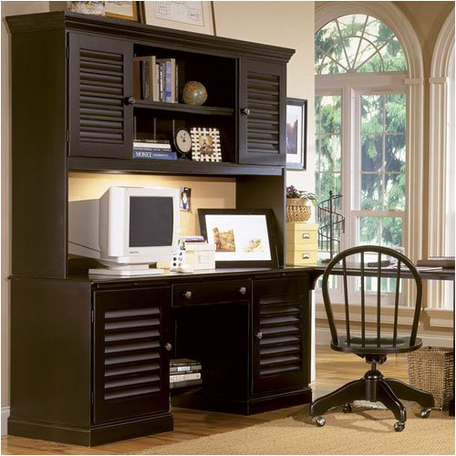 "Riverside Furniture 47033 / 47034 Coastal 66"" W Computer Desk with Hutch in Antique Black"