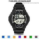 PALADA Boys Kids T6922G Sports Digital Waterproof Watches with 7 Colors LED Backlight