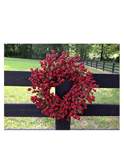 Mills Floral 24″ Soft Red Berry Wreath