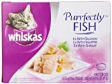 Whiskas Purrfectly Fish Variety Pack (4-with Salmon, 3-with Snapper, 3-with Shrimp) Food for Cats, 10-Count Packages (Pack of 4)