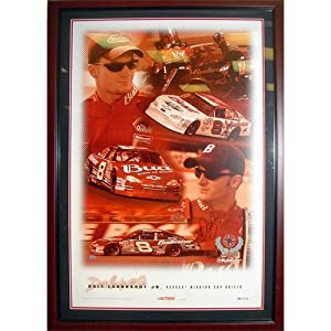 Dale Earnhardt Jr. Autographed (Action) Deluxe Framed Poster by PalmBeachAutographs.com