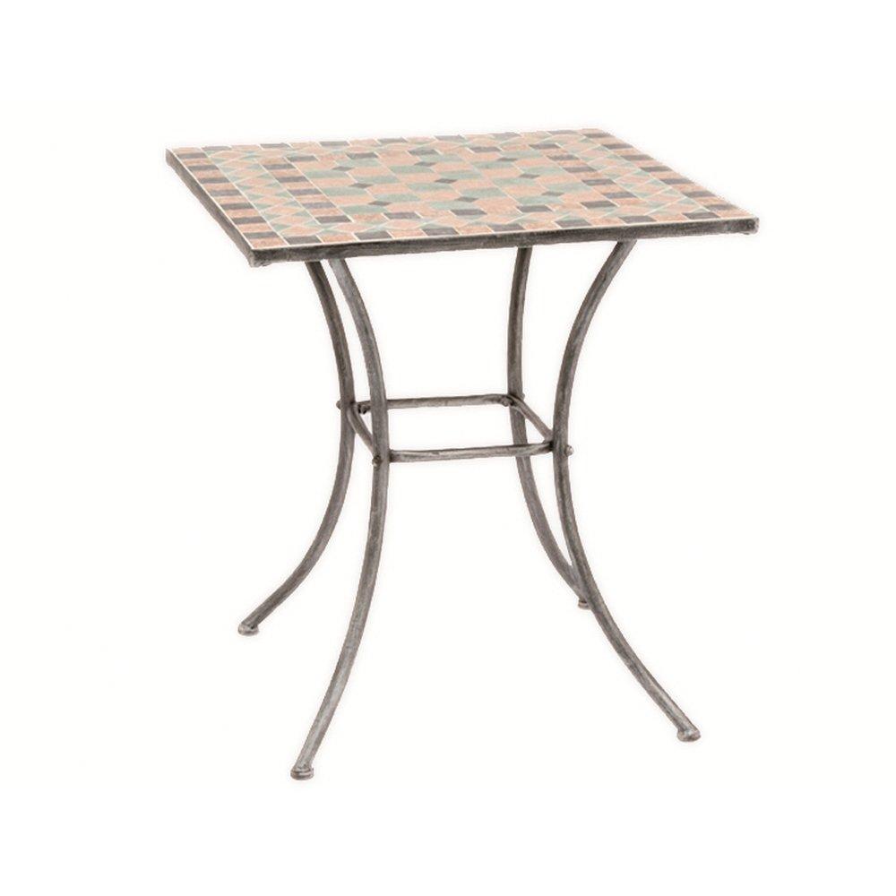 Siena Garden 247010 Tisch Fiore, Gestell silber-schwarz matt, Mosaikoptik in der Tischplatte, L 64 x B 64 x H 71 cm günstig