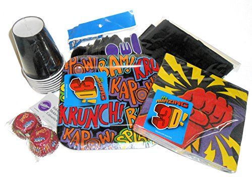 Superhero Fun Party Supplies - Plates, Napkins, Silverware, Cups, Tablecover, & Mini Baking Cups
