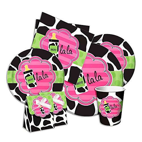 Girl Baby Shower Cow Print Party Pack for 8 guests