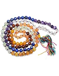 Reiki Crystal Products MultiColor 7 Chakra Crystal Mala Healing Gemstone