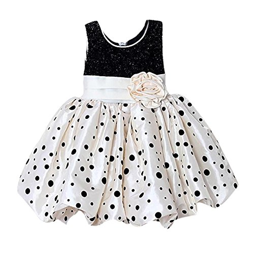 Weixinbuy Kids Girls Flower Bubble Princess Polka Dot Sleeveless Dress (Xl/(5-6 Years), Beige)