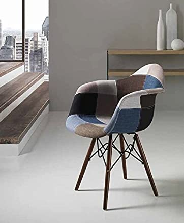 Milli sedia poltrona in tessuto Patchwork design gamba legno