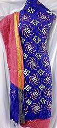 Shubh Women's Dress Material (7991CDBLPK_Blue Pink_Free Size)