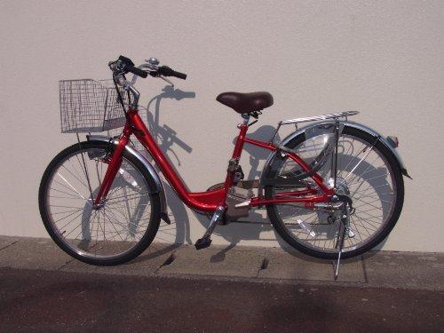 電動アシスト自転車 はやぶさ号 ワインレッド(メタリック レッド) 26インチ 24ボルト6アンペア リチウムイオンバッテリー 整備済完成車納入