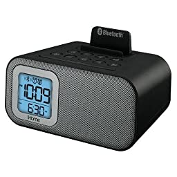 iHome Wireless Bluetooth Alarm Clock with Dual Independent Alarms, Gradual Wake and Gradual Sleep Volume, Sleep Timer, USB Port and 3.5mm Stereo Auxiliary Input, Worldwide Voltage with Universal 100-240V AC Adaptor Included