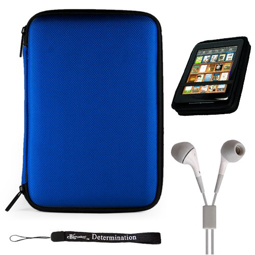 """Blue Slim Stylish Hard Cover Nylon Protective Carrying Case Folio For Pandigital Novel 7"""" Color Multimedia Ereader + Indlues A 4-Inch Determination Hand Strap + Includes A Crystal Clear High Quality Hd Noise Filter Ear Buds Earphones Headphones ( 3.5Mm Ja"""