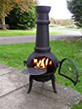 (free cover) LARGE 120CM OXFORD BLACK CAST IRON/STEEL CHIMINEA BBQ WITH SWING OUT GRILL