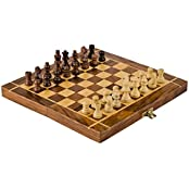 Rusticity Wooden Travel Chess Set 10 In X 10 In Folding Chess Board With Wood Pieces In Case Handmade From Rosewood