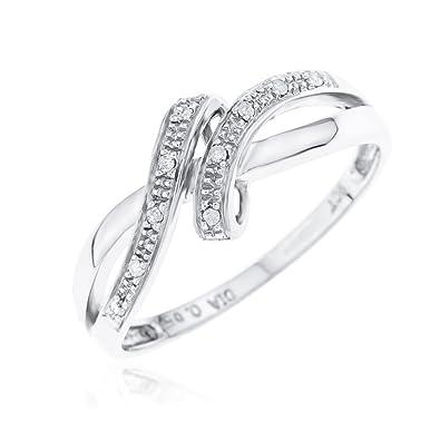 Femmes Or Blanc Finition Diamant Noir Infini Noeud Coeur promesse Fashion Ring