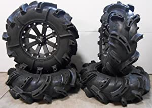 MSA Black Kore 14″ ATV Wheels 30″ Silverback Tires Sportsman RZR Ranger