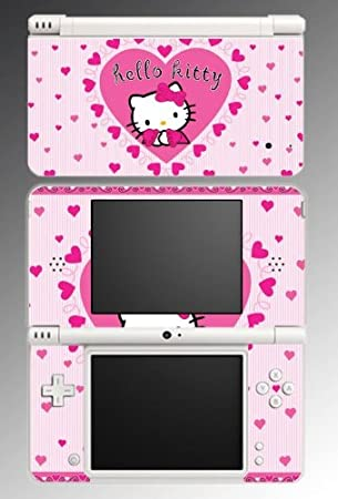 Hello Kitty Cute Pink Hearts Love Game Vinyl Decal Skin Protector Cover Kit 9 for Nintendo DSi XL