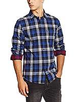Ben Sherman Camisa Hombre Ls Brushed Clipped Tartan Chec (Azul / Negro)