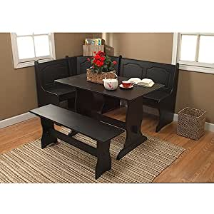 3 piece wooden breakfast nook corner bench with table for Kitchen set in amazon