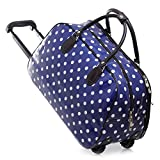 Sugar Sweet Bags Ladies Dark Blue Polka Dot Print Holdall Trolley Weekend Bag Hand Luggage Travel Bag M912