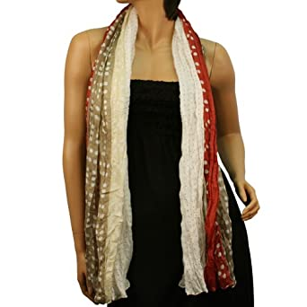 Crinkle Polka Dot Tricolor Light Sheer Long Big Summer Wrap Scarf Shawl Taupe