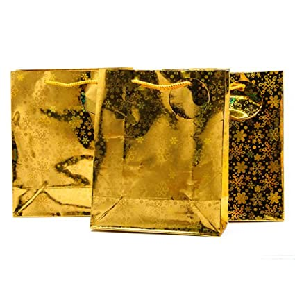 GOLD Holographic Snowflake MEDIUM CHIRSTMAS GIFT BAGS (Pack of 3) - GOLD