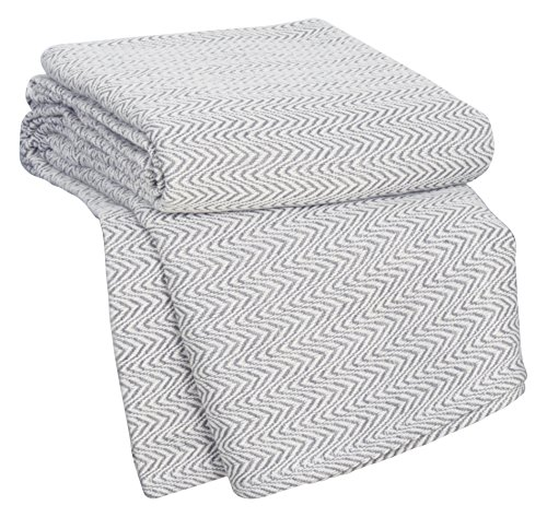 Bedford Home Chevron 100Percent Egyptian Cotton Blanket - Full/Queen - Char (Amazon Blankets compare prices)