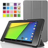 MoKo Google New Nexus 7 FHD 2nd Gen Case - Ultra Slim Lightweight Smart-shell Stand Case for Google Nexus 2 7.0 Inch 2013 Generation Android 4.3 Tablet, GRAY (With Smart Cover Auto Wake / Sleep Feature)