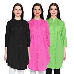 NumBrave Black, Pink & Green Long Cotton Top (Pack of 3)