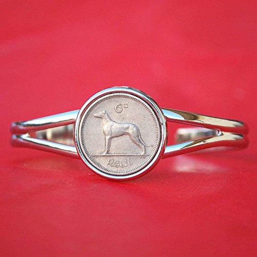 irish-ireland-6-pence-wolfhound-greyhound-dog-coin-silver-plated-cuff-bangle-bracelet-new
