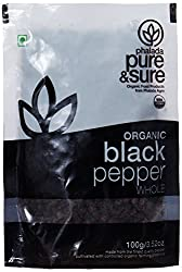 Pure & Sure Organic Whole, Black Pepper, 100g