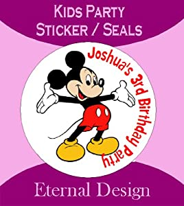 Eternal Design - Personalised Birthday Mickey Mouse 24 x Stickers Seals Gift Favours Invites (Kidcs25)