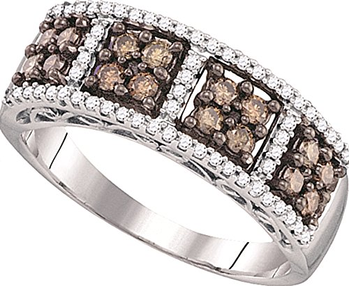 0.59 carats Brown & white diamonds white gold 10K wedding band