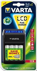 Varta LCD Plug Ladegerät für AA/AAA/9V und USB-Geräte schwarz