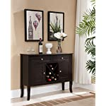 Kings Brand Furniture - Dark Cherry Finish Wood Wine Cabinet Breakfront Buffet Storage Console Table