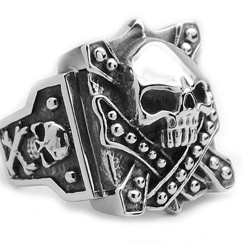 Stainless Steel Casted Skull Crossbones Biker Ring Size 11
