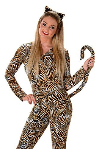 [Women's Tiger Cat Suit Costume - Halloween (L)] (Plus Size Tiger Costumes)
