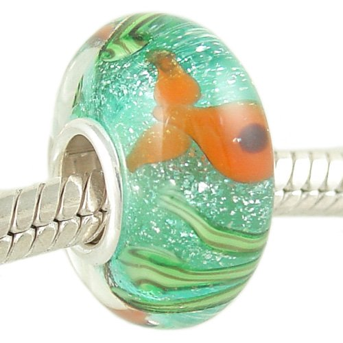 Gold Fish Murano Style Glass Bead on Sterling Silver Solid Core fits European Charm Bracelet